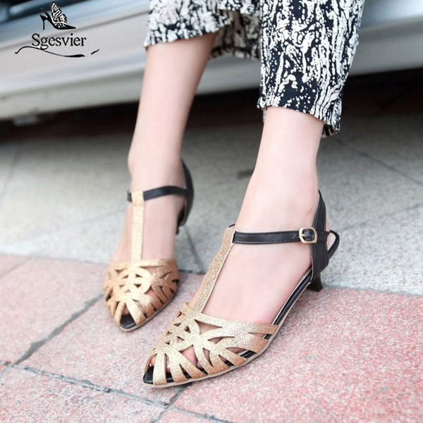 sgesvier 2020 spring summer new girl fashion brand shoes women sandal pointed toe t-straps back straps lady thick heel b181