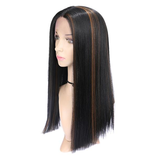 Blanchiment noir teinture, perruque synthétique avant # 4 en dentelle longue ligne droite cheveux synthétiques simulé de cheveux humains Ombre brune foncé
