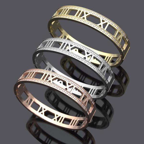 Классический браслет из титановой стали римские цифры двусторонний кристалл браслет из 18-каратного золота пара браслет внутренний диаметр 5.8X4.8 см Бесплатная доставка