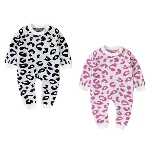 new leopard baby boy girl knitted romper wool sweater jumpsuit winter clothes set