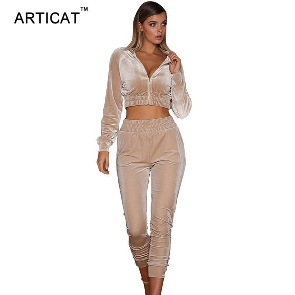 Articat Autumn Two Pieces Bodycon Jumpsuits For Women Overalls Long Sleeve Velvet Zipper Bodysuit Cropped Top Casual Full
