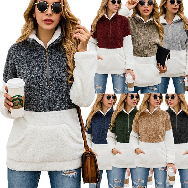 best selling Sherpa Pullover 8 Colors Women Patchwork Soft Fleece Sweater Outwear Coat Zipper High Collar Pocket Hoodie O-OOA7194