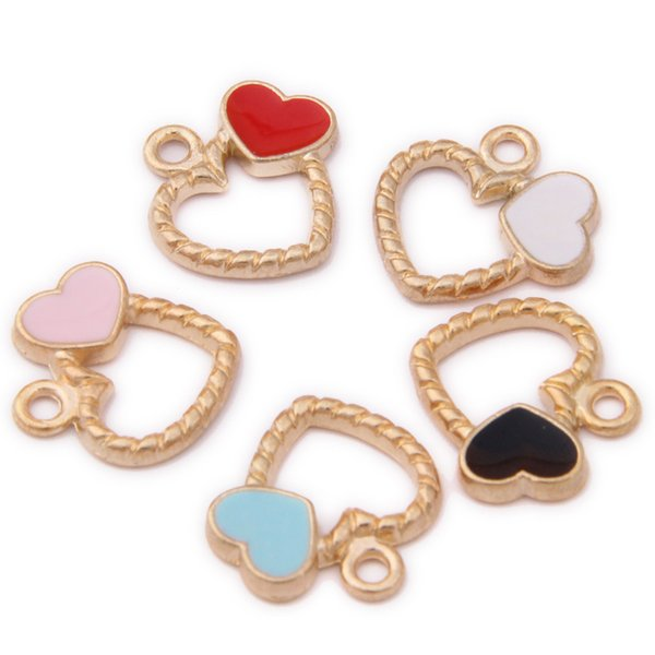 Bulk 200pcs/lot Enamel double heart charms pendant 17*17mm jewelry finding DIY craft 4 colors free shipping