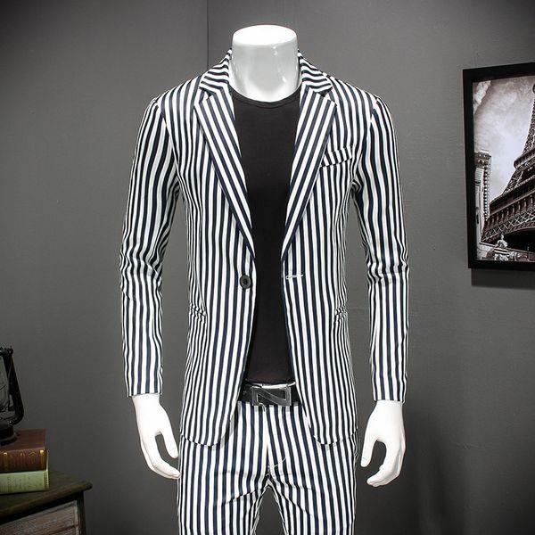 2019 Giacche da abito a righe bianche Giacche casual Uomo Primavera Smart Blazer formale aderente per uomo Ultimo cappotto