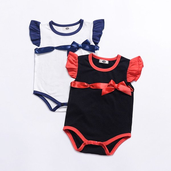 2019 INS Must-have Baby Girls Rompers Fly Sleeve Black Red White Blue Bow One Piece Cotton Bodysuits Newborn Boys Jumpsuits Infant Toddler