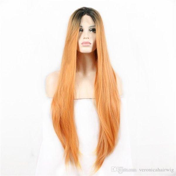 Livraison Gratuite Femmes Perruque De Mode 2 Tons Ombre Orange Résistant À La Chaleur Longue Soyeuse Droite Synthétique Perruque En Dentelle Avant Perruque Middle Parting Cospl