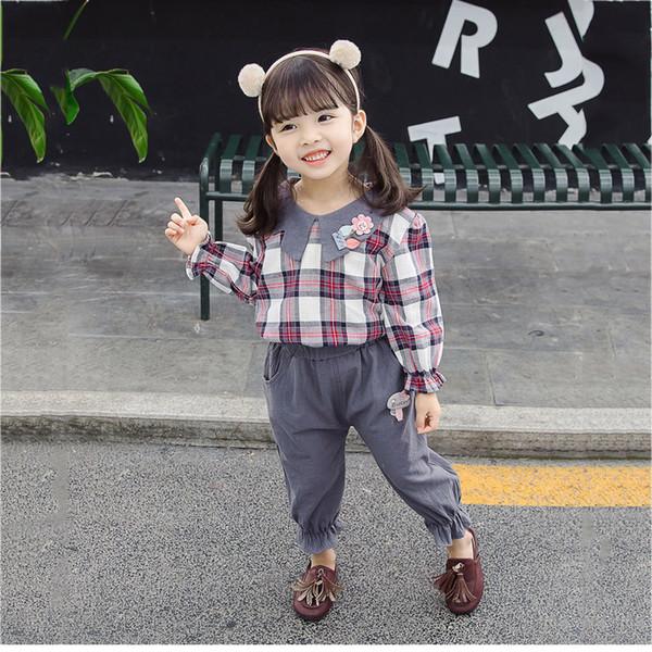 Дети ткань Набор для малышей Детских ребёнок Plaid Flower T Shirt Tops + шаровары Одежды Нижней Девушки зимней моды Костюмов 2019