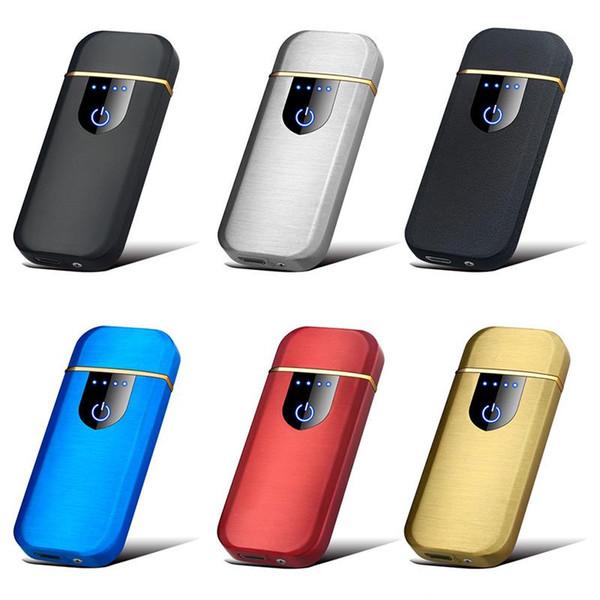 Encendedor USB Huella digital Detección táctil Encendedores inteligentes Encendedor de cigarrillos sin llama recargable eléctrico Mini a prueba de viento