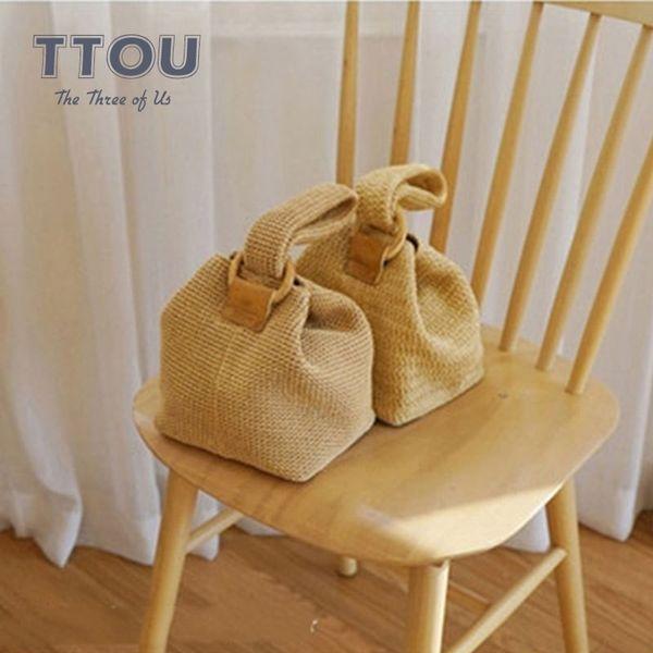 TTOU Fashion Women Handbag Straw Mini Ring Buckle Cute Woven Basket Khaki Female Tote Bag Summer Beach Bags Ladies' Rattan Bag