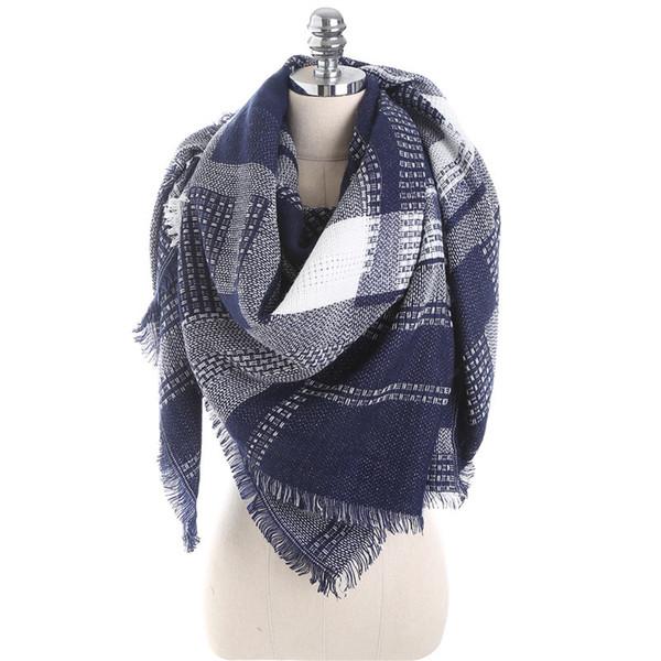 Winter Luxuxmarken Schal-Frauen-Kaschmir-Platz Tücher und Wraps Decke Mode Schals Plaid Foulard Dropshipping 140 * 140 cm Y200103
