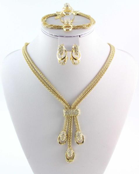 Nuovo arrivo serpente catena strass cristallo placcato oro / argento placcato gioielli braccialetto set gioielli ultimi indiani damigella d'onore accessori da sposa