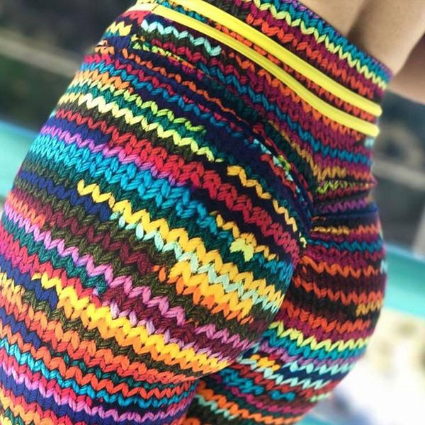 Yoga Suits Women Sport Sets S-XL Knit Printing Stretch Sport Bra Yoga Leggings Set High Elastic Female Slim Gym Tight Sportswear #249327