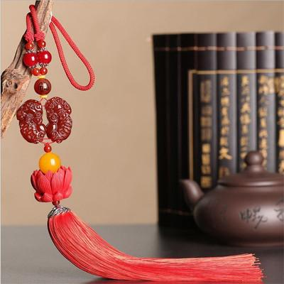 red agate access ping-man o's car rear-view mirror car interior hanging jewelry open-light natural jade pendant