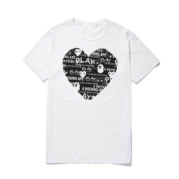 2018 Commes Мужские Дизайнерские Футболки Des Garcons Off Футболка с короткими рукавами Хлопок Черное Сердце Белое Дышащие Мужчины Женщины Любители Дешевые Продажа