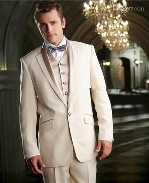 2019 Latest Coat Pant Designs Beige Men Wedding Suits Slim Fit 3 Piece Italian Tuxedo Custom Groom Prom Blazer Terno Masculino
