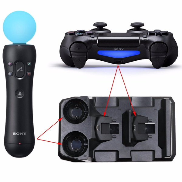 Hot sale PS4 Slim Pro PS Move Controllers Charger Storage PS4 4 in 1 Quad PS 4 Charging Dock Station Stand for Sony Playstation 4