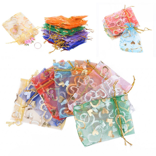 2019 Hot 10 PCS / 100 PCS Organza Colorido Embalagem Bolsa de Sacos de Cordão Transparente Recipiente Presente Do Presente Jewerly Organizador Sacos