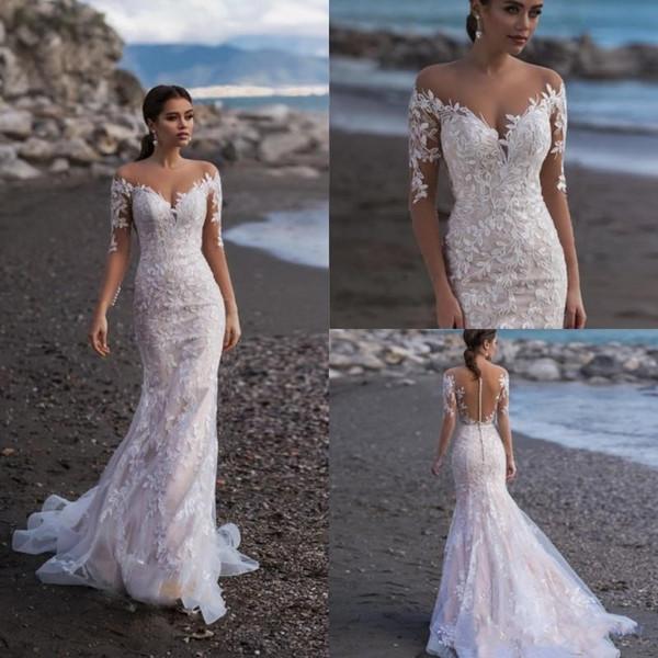 Naviblue 2019 de encaje completo de manga larga sirena vestidos de novia vestidos de novia apliques barrido personalizado vestido de novia de playa