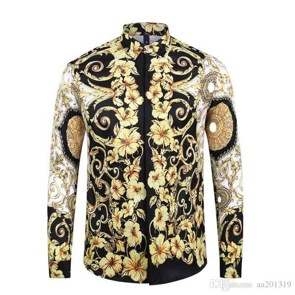 1717ss Brand New Men's Dress Shirts Fashion Harajuku Casual Shirt Men Medusa Black Gold Fancy 3D Print Slim Fit Shirts