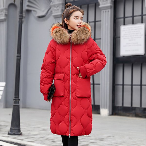 Women's Plus Size Thicken Cotton Padded Fur Hat Parka 2018 Winter Fashion Female Outerwear Solid Ladies Long Down Jacket Coat