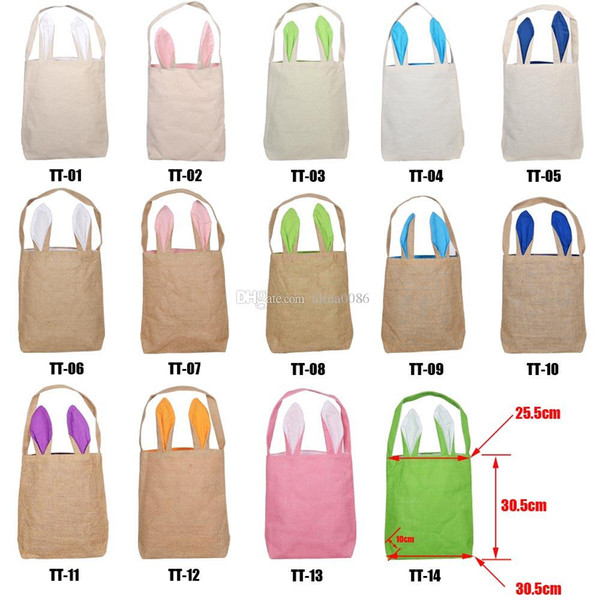 2019 Easter Bunny Bag para Egg Hunts Burlap Easter Basket Tote Handbag 14 colores de doble capa Bunny Ears Design con material de tela de yute