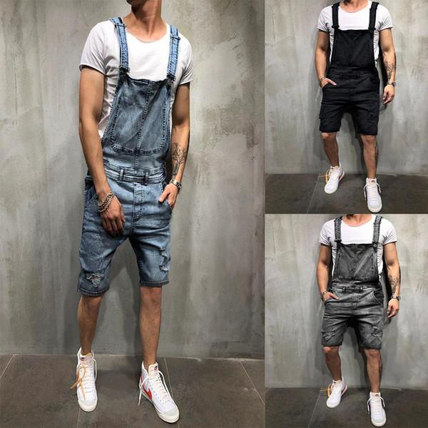 2019 Yeni Erkekler Kayış Kot erkek Kot Şort Moda Romper Yırtık Kot Askı Pantolon Büyük Boy S-3XXL Diz Boyu tulum
