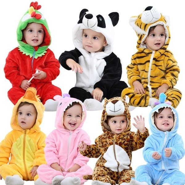 Infant Boys Girls Jumpsuit New Born Bebe Clothing Hooded Toddler Clothes Cute Panda Romper Baby Costumes Q190520