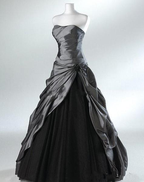 Artı Boyutu Mor Ve Siyah Balo Gotik Gelinlik Gelinler için Straplez Gri Kat Uzunluk Gerçek Resim Gelinlik Vestidos de N