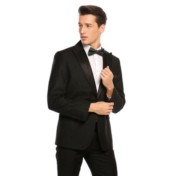 Latest Designs Men Suits for Wedding Black Groom Tuxedos Slim Fit Male Jacket Handsome Costume Homme Terno Masculino 2Piece trajes de hombre