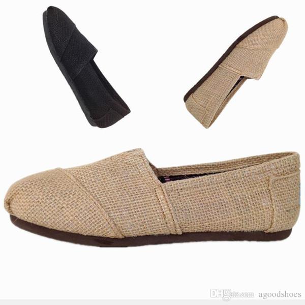Chaussures Casual Femmes Classiques TOM MRS Mocassins En Lin Toile Tissage Corde Mendiant Slip-On Flats Chaussures Chaussures Paresseux Taille 35-45 Livraison Gratuite