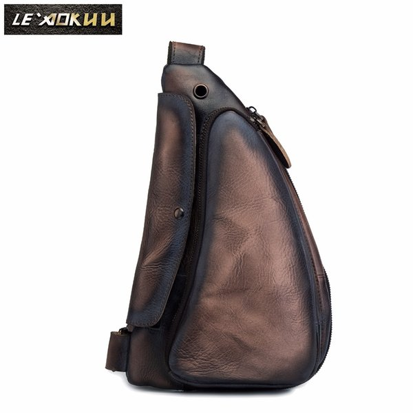 Quality Men Crazy Horse Leather Casual Fashion Waist Pack Chest Sling Bag Design One Shoulder Crossbody Bag For Male 9976db