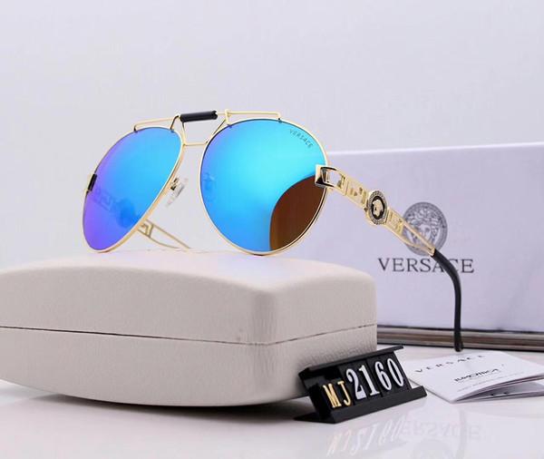 Ayna Üstün Kalite Erkek Metal Tasarımcı Güneş Gözlüğü Lüks Güneş Gözlüğü Moda Cam Gözlüğü Gözlük UV400 Marka ile 2160 Mavi 7 Renk kutu