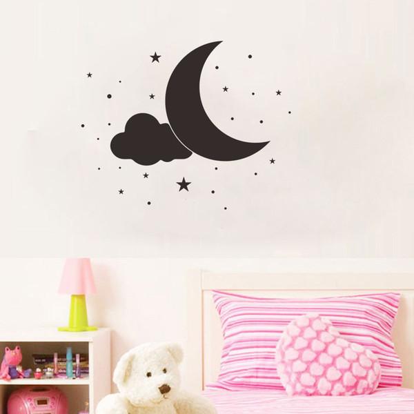 Cartoon Cute Clouds Moon Stars Polka Circles Wall Sticker For Kids Rooms Boys Girls Gifts Vinyl Wall Decals Home Decor Art Mural