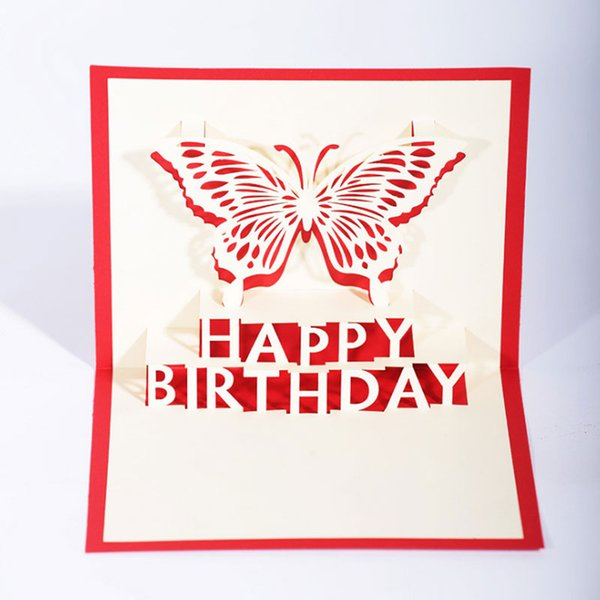 New Handmade Kirigami & Origami 3D Pop UP Happy Birthday Cartoon Butterfly Creative Greeting Cards Free Shipping