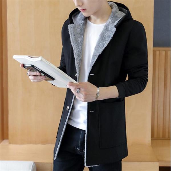 2018Winter Men 's Cashmere Warm Jacket Hoodie Trench Man Jackets Hood Mens Coats