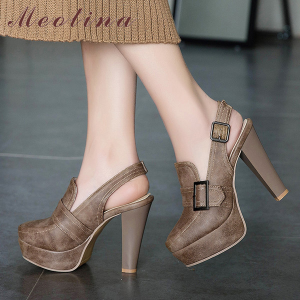 Meotina Women Pumps Tacchi alti con fibbia con plateau Spike Heels Slingbacks Scarpe Sexy Super High Shoes Ladies Large Size 34-46