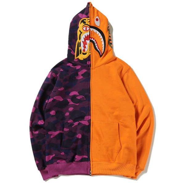 Mens sportwear manteau jogger survêtement patchwork sweat en molleton ras du cou oiseau OVO Drake noir Hip Hop Zipper Hoodie Hommes bouche de requin