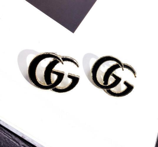 top popular 56 Wholesale Double Layers Earrings Letters Dangle Drop Pearl Earring Gold Silver Ear Studs For Women Wedding Party Jewelr 2019