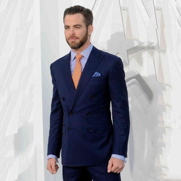 Fashion Dark Navy Double Breasted Prom Tuxedos Slim Fit Peaked Lapel Two Pieces Suit for Wedding Party Cheap Best Man Jacket and Pants