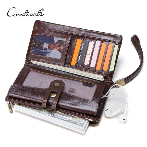 CONTACT'S men's long wallets genuine leather card holder women purse for cell phone man clutch high capacity wallet hasp design