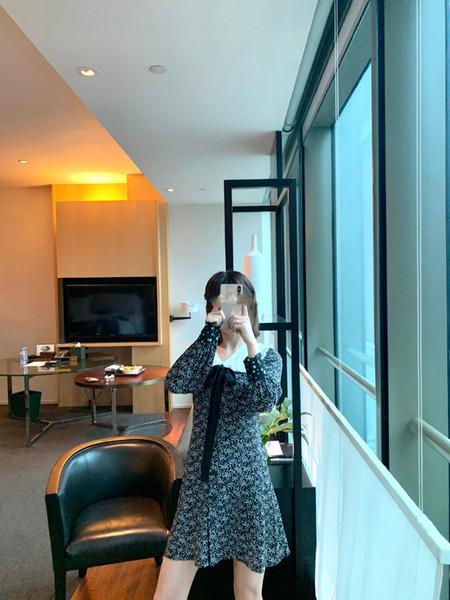 Designer brand 2019 MISS Women Street Style bow decoration Casual long Sleeve Party Dresses silk stars ladies midi dress
