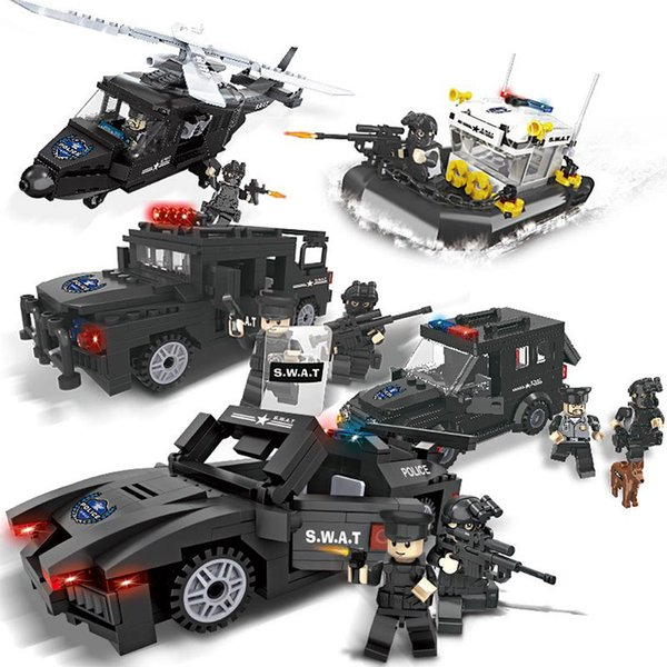 top popular City police fight to insert building blocks toys military special police assembled plastic children boy educational toys 2020