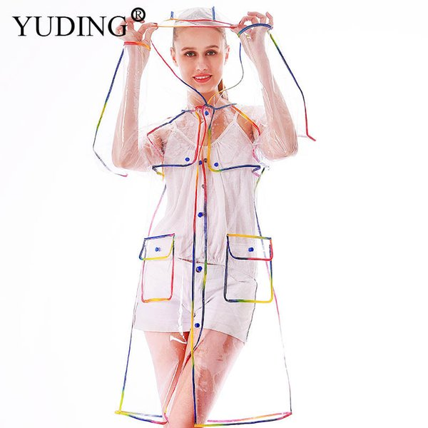 Yuding Transparent Raincoat Clear Rainwear Hooded Outdoors Waterproof Rain Coats Unisex Ladies Long Raincoats For Woman Y190313