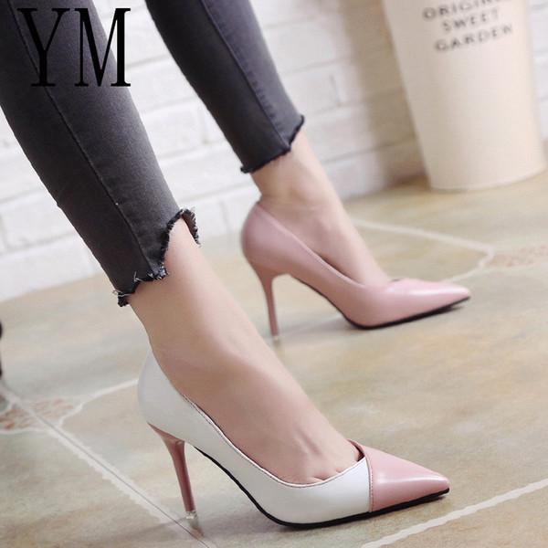 2018 Kadınlar OL Moda Kadın Kadın İlkbahar Yaz Rugan Düğün ayakkabıları Renk Yüksek topuklu Tek Ayakkabı Yazım pompaları
