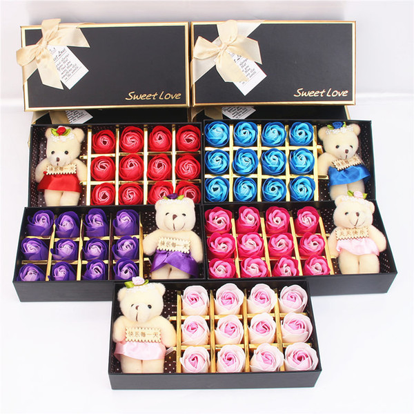 12pcs/Box Romantic Rose Soap Flower With Little Cute Bear Doll Box Great Valentine's Day Gifts Wedding Gift Christmas Gift