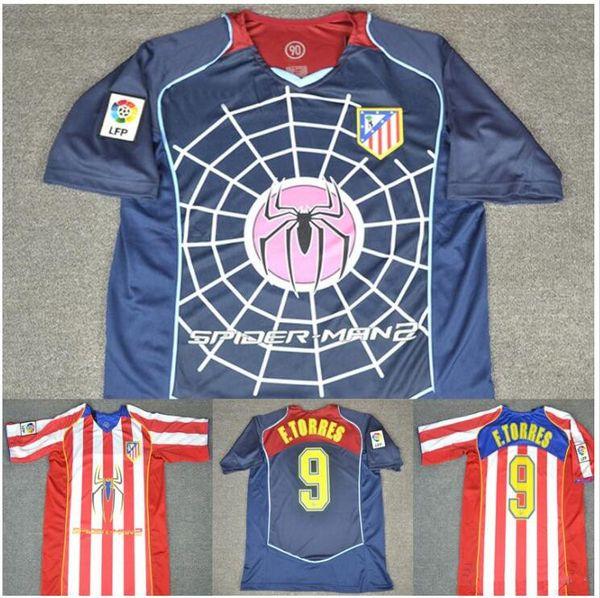 04 05 Madrid Spider Man versão RETRO Camisa de Futebol Simeone Fernando Torres 2004 2005 Camisa de Futebol