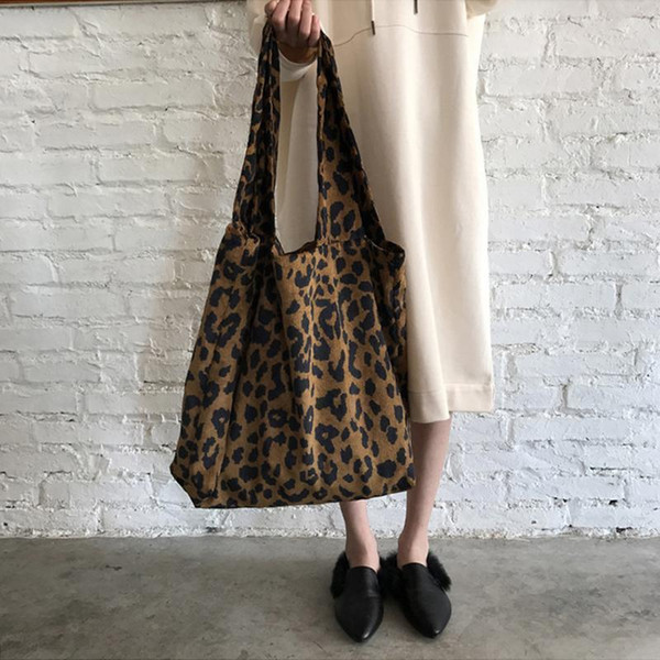 Classic Leopard Corduroy Print Shoulder Bag Fashion Large Shopping Casual Shoulder Hand Bags Shopper Bag For Women Girl Ladies