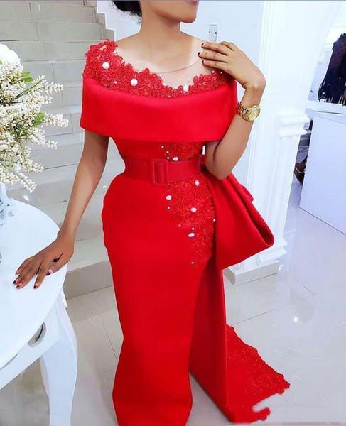 Sheer Neck REd Mermaid Evening Dresses Lace Appliqued Elegant Saudi Arabic Long Prom Dresses Custom Made