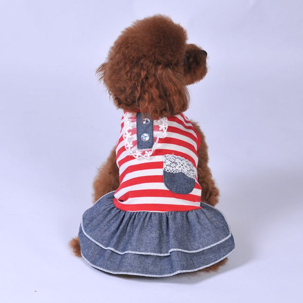 Summer Pet clothe Puppy Small Dog Cat Supplies Stripe Clothes for cheap Tutu Dress Princess Skirt Apparel Costume cute dog clothing xl dres