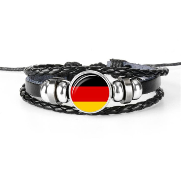 Germany National Flag World Cup Football Fans Time Gem Glass Cabochon Button Bracelets Cowhide Leather Rope Beadeds Jewelry Deco Accessories